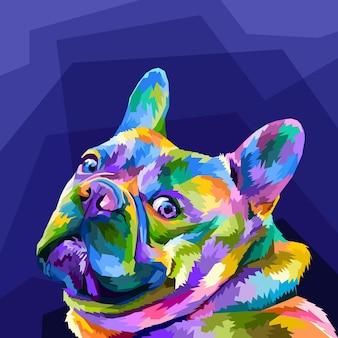 Bunte französische bulldogge im pop-art-porträt isoliert auf lila hintergrund
