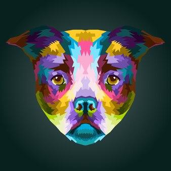 Bunte französische bulldogge in pop-art-porträt isoliert dekoration