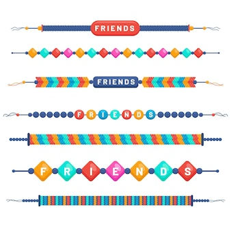 Bunte freundschaftsbands gesetzt
