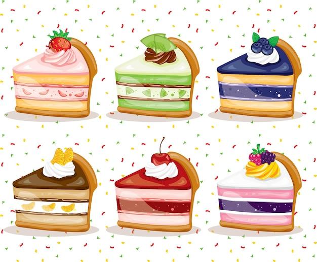 Bunte frucht süße leckere scheibenkuchen gesetzt
