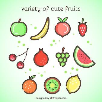 Bunte früchte in minimalistischem stil