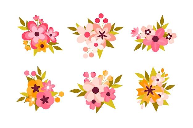 Bunte frühlingsblumensammlung