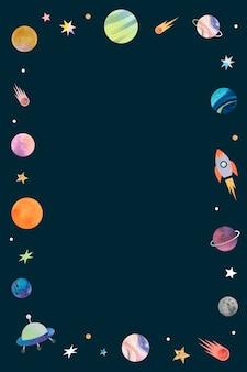 Bunte galaxie aquarell doodle-rahmen auf schwarzem hintergrund