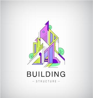 Bunte gebäude, städtisches skyline-logo, flacher stil mit linienkonstruktion.