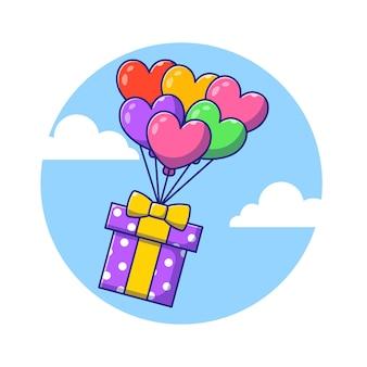 Bunte geburtstags-box, die mit ballons flacher karikatur-illustration fliegt.