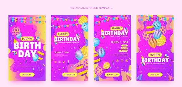 Bunte geburtstags-instagram-geschichten mit farbverlauf Premium Vektoren