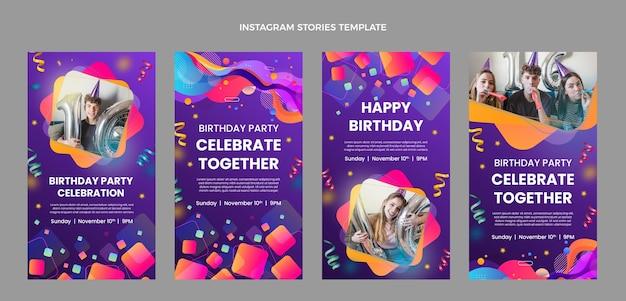 Bunte geburtstags-instagram-geschichten mit farbverlauf