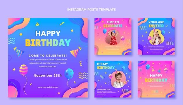 Bunte geburtstags-instagram-posts mit farbverlauf
