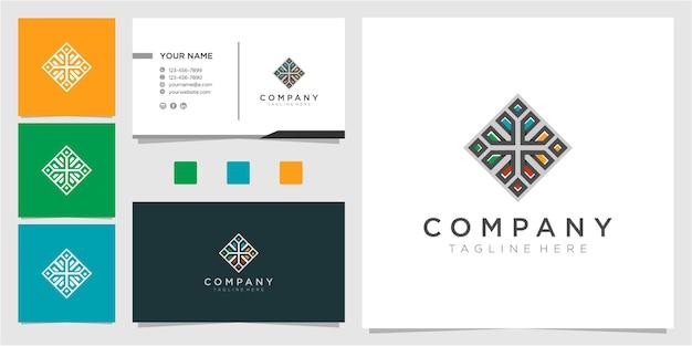 Bunte gemeinschaftslogo-designinspiration mit visitenkarte