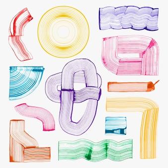 Bunte geometrische formen textur vektor diy kamm malerei abstrakte kunst set