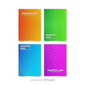 Bunte geometrische linien broschüre gesetzt
