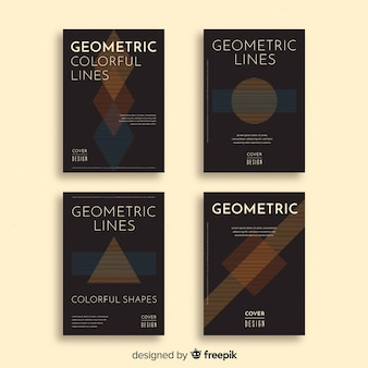 Bunte geometrische linien decken sammlung ab