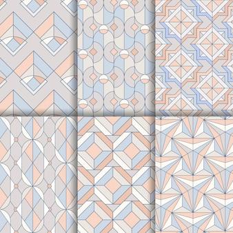 Bunte geometrische nahtlose pastellmuster eingestellt