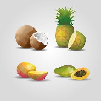 Bunte geometrische polygonale früchte, besetzt mit kokosnuss-ananas-mango und passionsfrucht auf grau