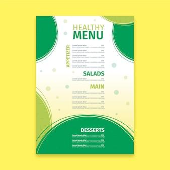 Bunte gesunde essensrestaurantmenüschablone