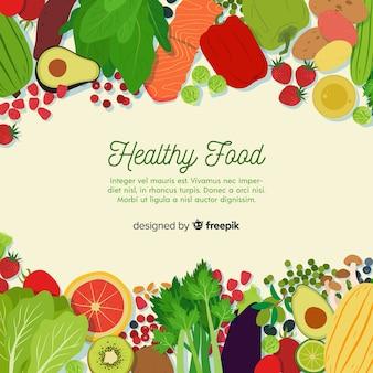 Bunte gesunde lebensmittelhintergrundschablone
