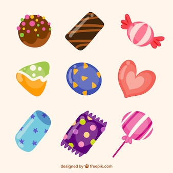 Bunte gezeichnete art der süßigkeitensammlung in der hand