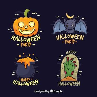 Bunte gezeichnete art halloween-aufklebersammlung in der hand