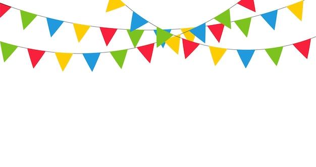 Bunte girlandendekoration für karneval, feiertag, geburtstag und fest.