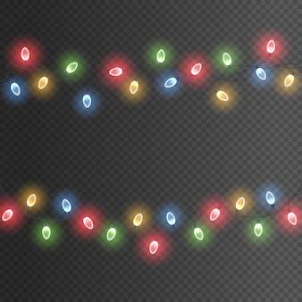 Bunte girlandenschnur mit leuchtenden glühbirnen führte neonweihnachtslichter-feiertagsdekorationsvektor