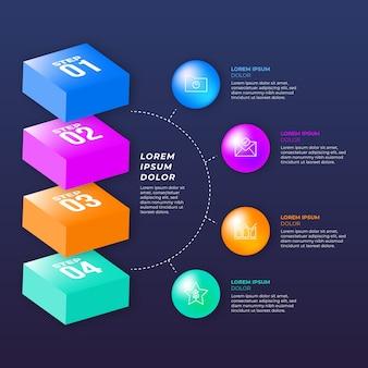 Bunte glänzende 3d-infografik