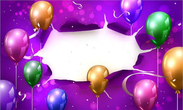 Bunte glänzende ballone mit silbernem konfetti-band verzierten purpurrotes heftiges papier bokeh