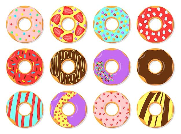 Bunte glasierte donuts flache illustrationen eingestellt