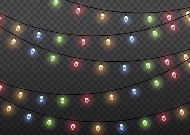 Bunte glimmlichtlampe auf drahtschnüren isoliert transparent