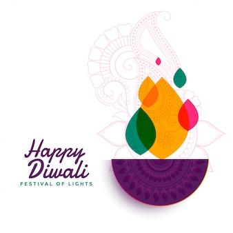 Bunte glückliche diwali festival diya lampe
