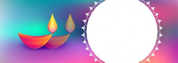 Bunte glückliche diwali festivalillustration mit textraum