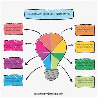Bunte glühbirne infografik
