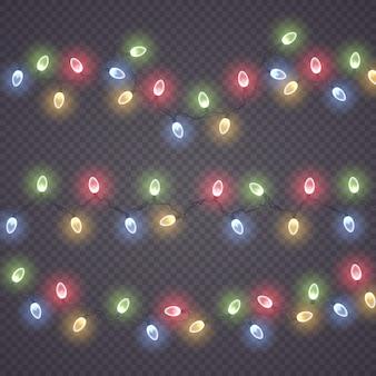 Bunte glühlampe auf drahtschnüren leuchtende lichter weihnachtsgirlandendekorationen führte neonlicht