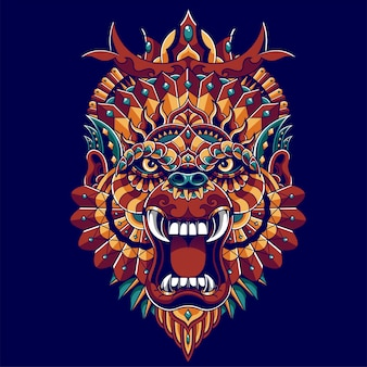 Bunte gorillaillustration, mandala zentangle und t-shirt entwurf