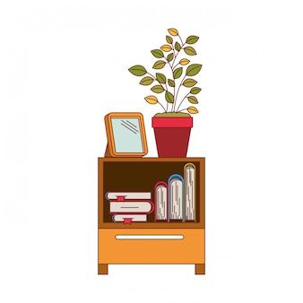 Bunte grafik der dekorativen kabinettabelle mit büchern und pflanzentopf mit dunkelroter linie kontur