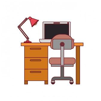 Bunte grafik des schreibtischhauses mit stuhl und lampe und laptop-computer mit dunkelroter linie kontur