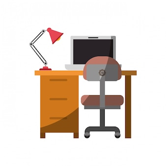 Bunte grafik des schreibtischhauses mit stuhl und lampe und laptop-computer ohne kontur und halben schatten