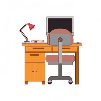 Bunte grafik des schreibtischhauses mit stuhl und lampe und tischrechner mit dunkelroter linie kontur