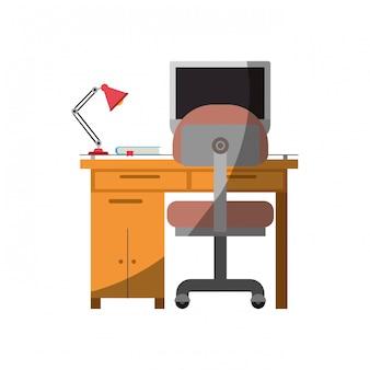 Bunte grafik des schreibtischhauses mit stuhl und lampe und tischrechner ohne kontur und halben schatten