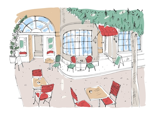 Bunte grobe zeichnung des straßencafés, des restaurants oder des kaffeehauses mit tischen und stühlen, die auf stadtstraße neben schönem gebäude mit großen panoramafenstern stehen. hand gezeichnete illustration.