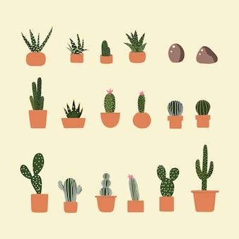 Bunte grüne kaktus-karikatur