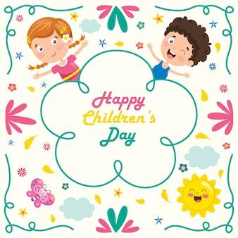 Bunte grußkarte für glücklichen kindertag