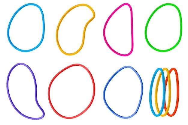 Bunte gummibänder. vektorobjekt isoliert auf weißem hintergrund. gummiband für geld. für ihre gestaltung.