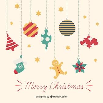 Bunte hängen weihnachtsschmuck