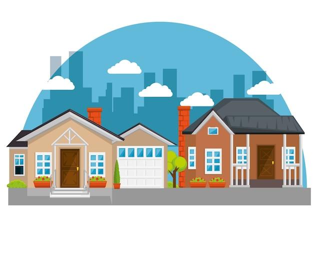 Bunte häuser in der nachbarschaft