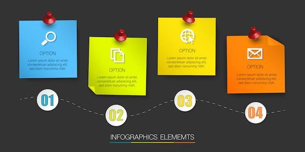 Bunte haftnotiz-infografik, illustration mit 4 optionen und platz für text auf braunem hintergrund