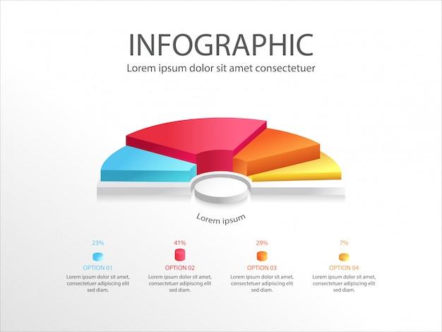 Bunte halbe kreisdiagramm-infografik mit 3d hälfte eines geschäfts-kreisdiagramms