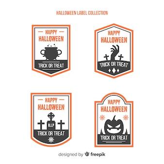 Bunte halloween-abzeichen sammlung mit flachen design