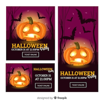 Bunte halloween-banner mit realistischem design