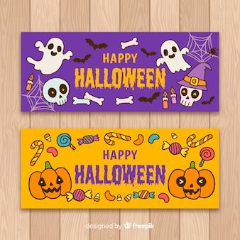 Bunte halloween banner vorlagen