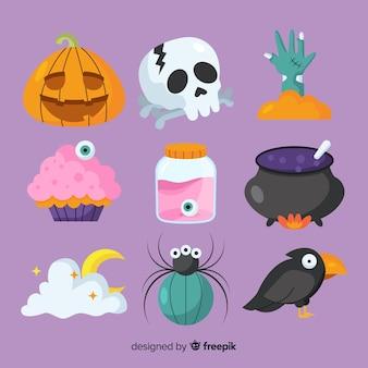 Bunte halloween elementsammlung mit flachem design